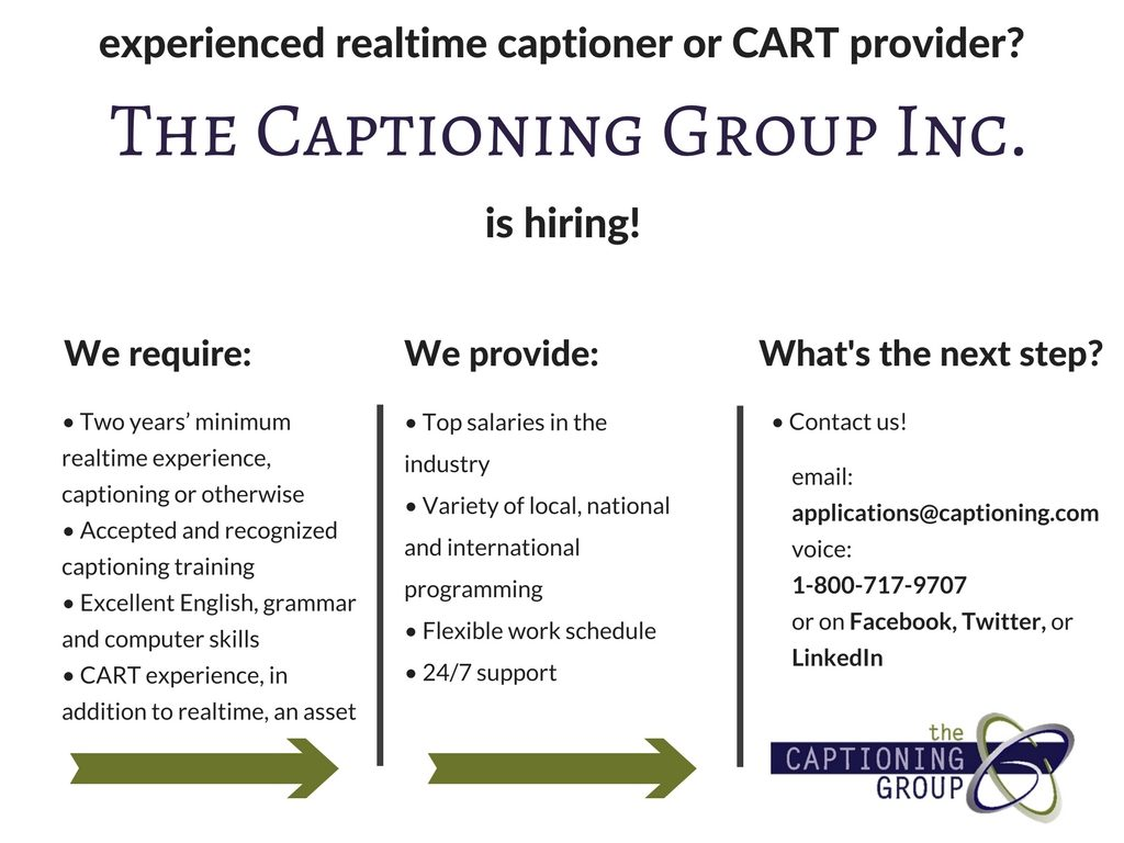 The Captioning Group - Work as a Broadcast Captioner