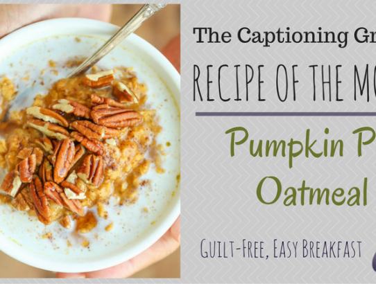 TCG Recipe of the Month - Pumpkin Pie Oatmeal
