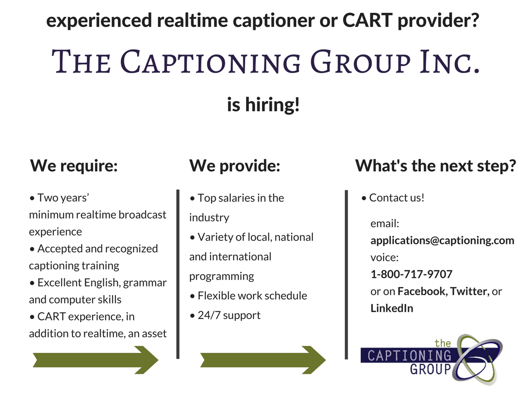 Broadcast Work with The Captioning Group - Hiring