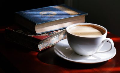 A day in the life of a captioner - books and coffee